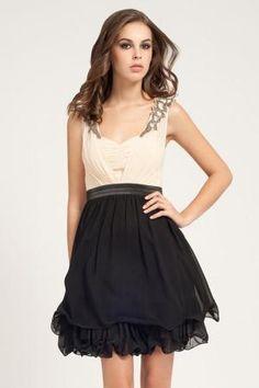 Cream & Black Embellished Shoulder Detail Prom Dress £55.00 by Little Mistress