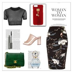 """""""woman to men"""" by tasneembnf ❤ liked on Polyvore featuring beauty, Henri Bendel, Topshop, River Island, Chanel, Balmain, Marc Jacobs and MAC Cosmetics"""