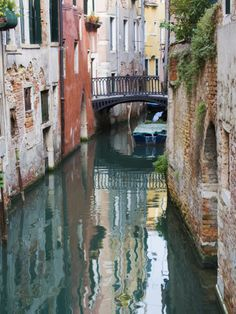 Reflections and Small Bridge of Canal of Venice, Italy Photographic Print at AllPosters.com
