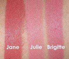 NARS Audacious Lipstick in Jane, Julie and Brigitte Swatches