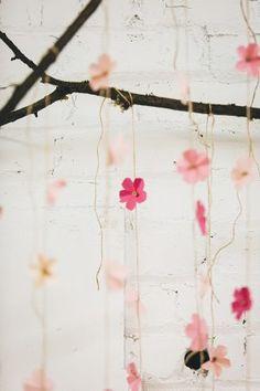 cherry blossom wedding details - photo by Jenn Byrne Creative http://ruffledblog.com/diy-paper-cherry-blossom-backdrop