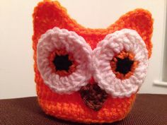 Orange owl mason jar cozy by loveofcrocheting on Etsy
