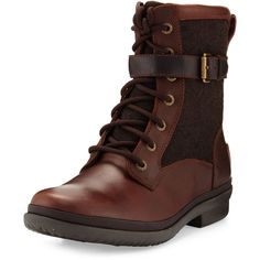 Ugg Kesey Waterproof Combat Boot (€105) ❤ liked on Polyvore featuring shoes, boots, ankle booties, chestnut, round toe flats, lace up booties, water proof boots, waterproof boots and lace up combat boots