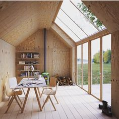 This archetypal Swedish building form, shaped like a Monopoly house, serves as an artist's studio, with a simple plywood interior and massive skylights to let in natural sunlight. Architecture + Photo by Waldemarson Berglund Arkitekter Tiny Homes, New Homes, Prefab Homes, Plywood Interior, Casas Containers, Garden Studio, Backyard Studio, Garden Office, Backyard Office