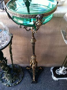 1890-1910 Victorian Fish Bowl Stand with Original Green Glass Bowl