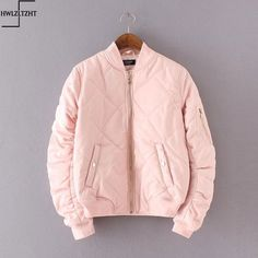 18355dba79a Baby Pink Quilt Bomber Jacket Women Outerwear