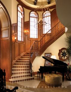 Private Residence - South Florida - traditional - Staircase - Other Metro - Marc-Michaels Interior Design Beach Interior Design, Interior Wall Colors, Interior Design Advice, Luxury Interior, Interior Decorating, Decorating Ideas, Staircase Railings, Staircase Design, Stairways