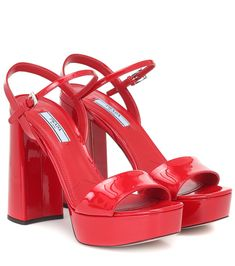 Platform Mules, Red Platform, Calf Leather, Patent Leather, Leather Sandals, Summer Feet, Cute Sneakers, Fresh Shoes, Prada Shoes