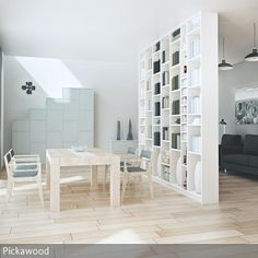 Deckenhoher Raumteiler aus MDF-Holz oder Massivholz. Pickawood als die Marke für maßgefertigte Möbel bietet eine Auswahl an über 10 verschiedenen …