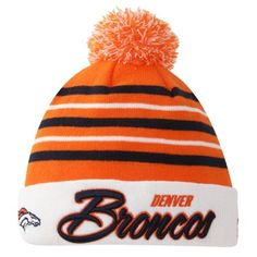 Denver Broncos New Era Snowfall Stripe Knit Hat – Orange/White