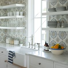 Modern farmhouse kitchen with floating shelves, farm sink, and shiplap. Modern farmhouse kitchen with floating shelves, farm sink, and shiplap. Farm Kitchen Ideas, Farmhouse Kitchen Island, Cottage Kitchens, Modern Farmhouse Kitchens, Home Decor Kitchen, Interior Design Kitchen, Farmhouse Design, Kitchen Modern, Cottage Design