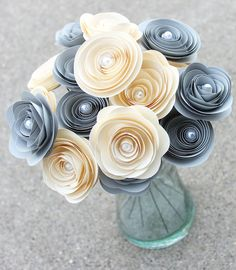 Gray and Cream Paper Flower Bouquet 16 by Scrappuchino on Etsy, $12.95