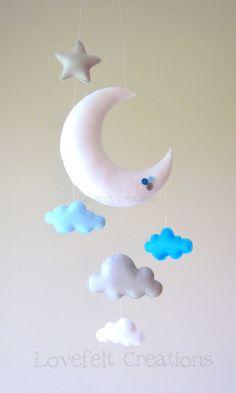 Bebé móvil Luna nube móvil buho móvil bebé por lovefeltmobiles