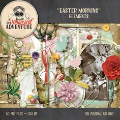 Digital scrapbooking elements, Easter, digital download, vintage ephemera, easter bunny, paint, photomask, stitches, spring, mixed media