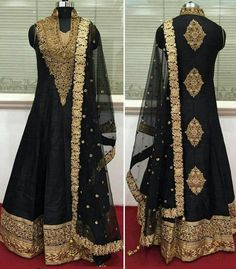 Bollywood Zari Work Black Anarkali Suit New Indian Pakistani Replica Dress  #Handmade #AnarkaliSuit