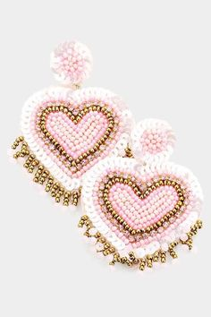 Heart Earrings, Beaded Earrings, Statement Earrings, Rush Outfits, Pinup Girl Clothing, Pink Accessories, Barbie World, Glitz And Glam, Felt Hearts