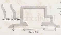 1849 Antique Medieval Architectural Drawing of door bananastrudel