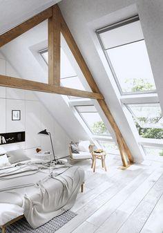illuminazione mansarda con grandi finestre sul tetto Attic Bedroom Decor, Attic Bedroom Designs, Attic Bedrooms, Attic Design, Bedroom Loft, Interior Design, Bedroom Ideas, Attic Bathroom, Bedroom Inspiration