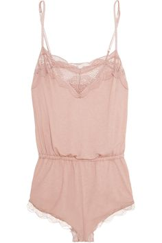 Eberjey | Estelle Teddy lace-trimmed stretch-jersey playsuit | NET-A-PORTER.COM