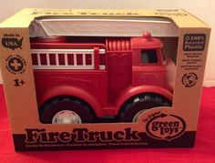 Green Toys red FIRE TRUCK with rotating Roof Ladder & 2 side ladders #GreenToys