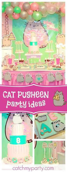Check out this fun Cat Pusheen birthday party! The dessert table is so cute!! See more party ideas and share yours at CatchMyParty.com #partyideas #catpusheen