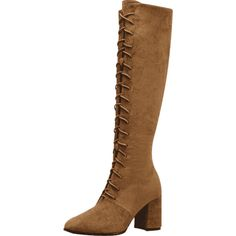 Chunky Heel Lace Up Knee High Boots (£35) ❤ liked on Polyvore featuring shoes, boots, brown knee high lace up boots, lace up boots, thick heel boots, chunky heel lace up boots and over-knee boots