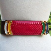 """chic! vintage designer carlisle black leather belt yellow, red, white, purple, green reptile lizard skin bar buckle wrap belt; snap closure DESIGNER: carlisle; handmade in Austria  Marked SIZE: medium:  will fit waist up to 32"""", 2"""" width  FABRIC: leather CONDITION: great Vintage Condition Addi..."""
