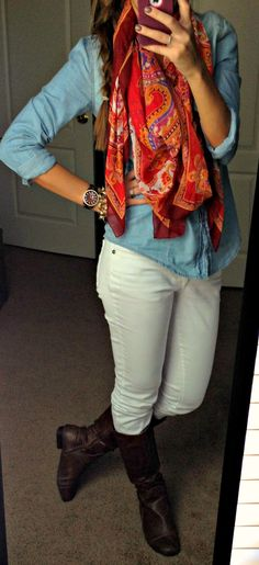 Love white jeans for fall and winter.  Already have a great pair of brown leather boots that would look great :)