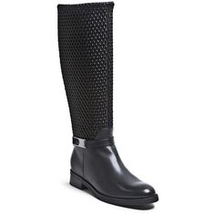 """Blondo 'Emma' Waterproof Stretch Shaft Riding Boot, 1 1/2"""" heel ($285) ❤ liked on Polyvore featuring shoes, boots, black leather, knee-high boots, waterproof riding boots, leather boots, knee-high waterproof boots, stretch knee high boots and leather riding boots"""