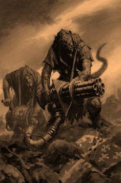 Skaven's Ratling Gun Dark Fantasy, Fantasy Rpg, Fantasy Artwork, Fantasy Warrior, Fantasy Battle, Warhammer Skaven, Warhammer 40000, Warhammer Fantasy Roleplay, Humanoid Creatures