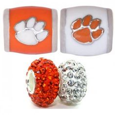 Teagan Collegiate Collection Bead: Clemson University Combo set. This bundle contains four Clemson University Beads:     CU1 Orange Paw on White Bead     CU2 Orange Paw on White Bead     BPSCR09 925 Swarovski Clear Bead     BPSCR29 925 Swarovski Orange Bead  Beads are 925 Silver and Enamel. These are Teagan and Swarovski beads and they are compatible with Pandora, Biagi, Zable, Brighton, Troll and many other European style bracelets.