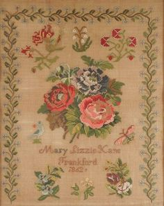 A Large & Very Pretty 19th Century European Sampler Stitched By Mary Lizzie Kane, Frankfurt & Dated 1862