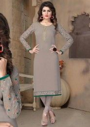 Party Wear Grey Georgette Embroidered Work Kurti