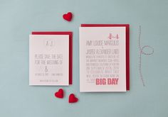 Simple design.  I like the idea of choosing a few symbols for the invitation suite, such as the heart monograms on the save-the-dates and the bridge on the invite.