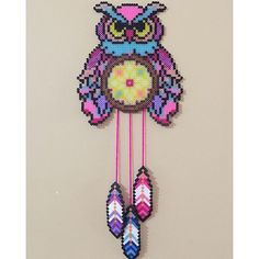 Owl dreamcatcher perler beads by sailorswife78