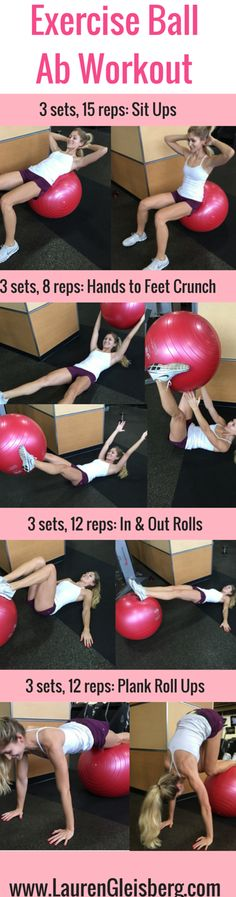 Exercise Ball Ab & Core Workout | #LGLoveYourselfFit Challenge by LaurenGleisberg.com