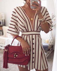 V-neck Batwing Sleeve Striped A-line Mini Dress Women Casual Tight Waist Above-knee Dresses Summer Ladies Elegant Loose Dress - Fashion Maxx Mode Outfits, Trendy Outfits, Summer Outfits, Beach Outfits, Gym Outfits, Sporty Outfits, Summer Clothes, Stylish Outfits, Dress Outfits