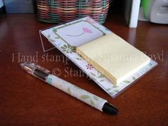 note pad holders from acrylic photo frames | ... the quick gift series - a beaded pen and matching Post-It note holder