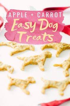 dog treats homemade Easy Apple Carrot Dog Treats - Homemade Dog Treats - Easy Dog Treats - Dog Treats That Do Not Contain Peanut Butter - Easy Dog Treats - Labrador Retriever - Pet Treats - Communikait by Kait Hanson Puppy Treats, Diy Dog Treats, Healthy Homemade Dog Treats, Homemade Dog Cookies, Homemade Dog Food, Dog Biscuit Recipes, Dog Food Recipes, Carrot Dogs, Easy Dog Treat Recipes