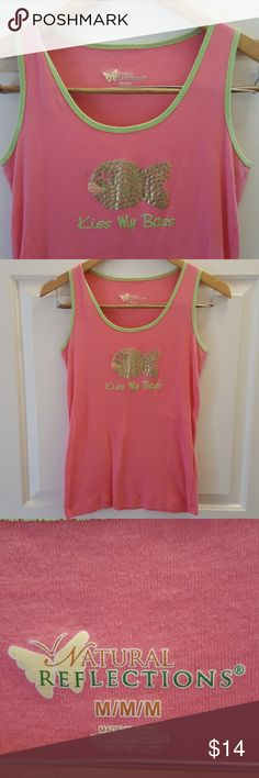 "Natural Reflections Pink Tank Top Bubble Gum Pink shirt with mint green trim around the neck and armpit. Design is a little fish made of gold hearts and the words say ""Kiss My Bass "" How funny is that  ! Great shape. Natural Reflections Tops Tank Tops"