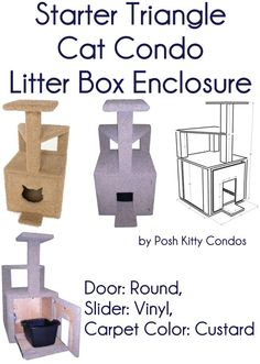 Starter Triangle Cat Condo and Litter Box Enclosure Door: Round, Slider: Vinyl, Carpet Color: Custard by Posh Kitty Condos - Price: $299.95 - #catlitterboxfurniture #cat #litter #box #furniture - http://www.catbedandtoy.com/cat-litter-box-furniture