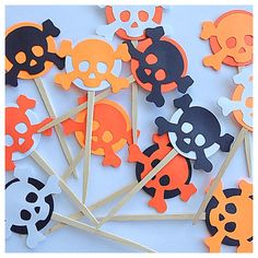 Skull and Crossbones Halloween Cupcake Topper by PicktheCake, $12.00