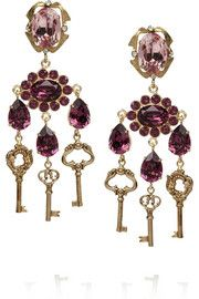 Dolce & GabbanaGold-plated Swarovski crystal clip earrings
