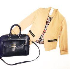 Tan blazer $52. Briefcase bag $56. @ Primp Boutique