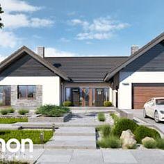Dom w kliwiach 4 Bungalow Haus Design, Modern Bungalow House, House Design, House Layout Plans, Dream House Plans, House Layouts, Architect House, Style At Home, Exterior Design