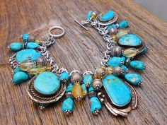 Authentic Navajo turquoise charms bench bead bracelet citrine #WhiteBuffaloCreations