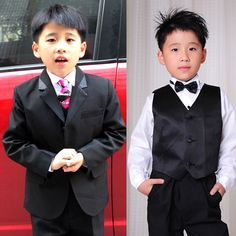 8 Piece Classic Black Two Button Wedding Bell Boys Dress Suits SKU-132043