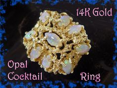 14K Gold Australian Opal Cocktail Large Gold by FindMeTreasures, $1155.00