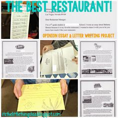 One of my favorite writing projects is my Best Restaurant Opinion Essay that I do with my fifth graders each year. Students pick a restaurant that they love, do some research online, and write an opinion essay. Afterwards, they look up the restaurant's address, write a cover letter, and can choose to mail their letter and essay to the restaurant. It's the little things...blog