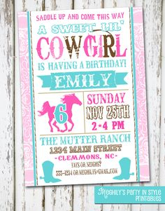 Western Cowgirl Birthday Invitation by Meghilys on Etsy, $8.00
